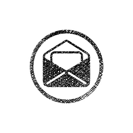 grungy email: Envelope mail vector icon with hand drawn lines texture. Illustration