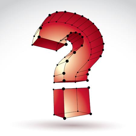 punctuation mark: La malla 3D con estilo signo de interrogaci�n web aislados sobre fondo blanco, colorido elegante icono consulta canal, marca puntuacion tecnolog�a boceto tridimensional con l�neas negras, brillantes y claras eps 8 vector ilustraci�n. Vectores