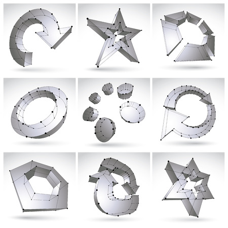 eps 8: Set of 3d mesh single color abstract objects isolated on white background, collection of black and white stylish geometric icons, dimensional tech symbols with black lines, clear eps 8 vector illustration. Monochrome stars, arrows, abstract elements and r Illustration