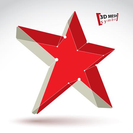 communistic: 3D Mesh sovi�tico muestra de la estrella roja sobre fondo blanco, colorido elegante icono superestrella celos�a, tecnolog�a tridimensional URSS s�mbolo con l�neas conectadas blancos, brillantes y claras ilustraci�n eps 8 vector, icono del pop estrella.