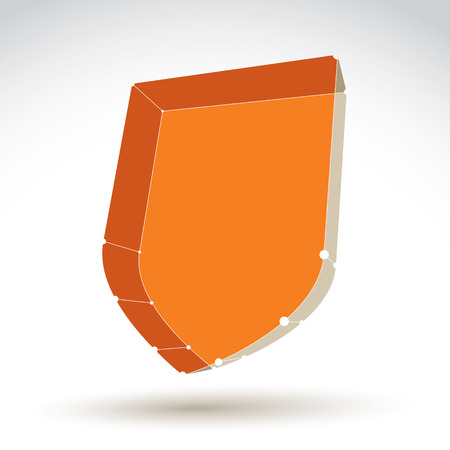 eps icon: 3d mesh web orange security icon isolated on white background, colorful lattice shield symbol, dimensional tech protection object, clear eps 8 vector illustration, bright perspective antivirus icon. Illustration
