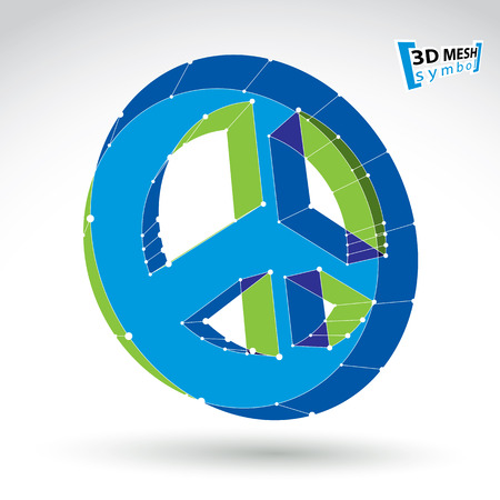 eps icon: 3d mesh blue web peace icon isolated on white background, colorful round peace symbol from 60s, dimensional tech circle hippy object, bright clear eps 8 vector illustration.