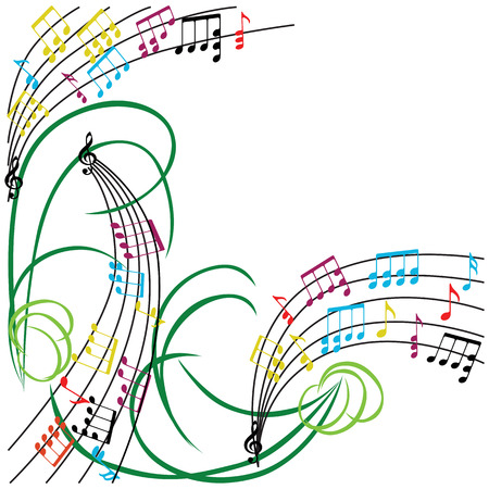 Music notes background, stylish musical theme frame, vector illustration.