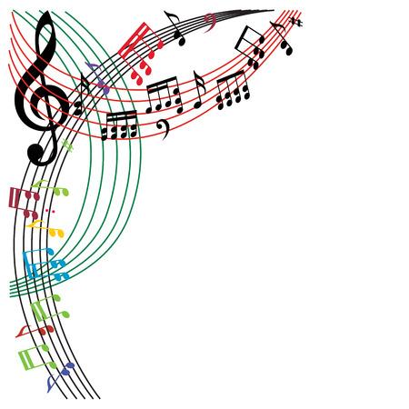 iconos de música: Notas de la música de fondo, la composición tema musical con estilo, ilustración vectorial.
