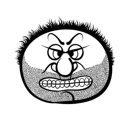 stubble: Angry cartoon face with stubble, black and white vector illustration. Illustration