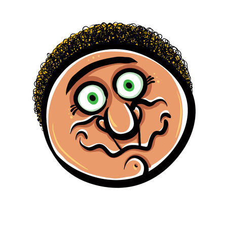 disorientated: Funny cartoon face, vector illustration.
