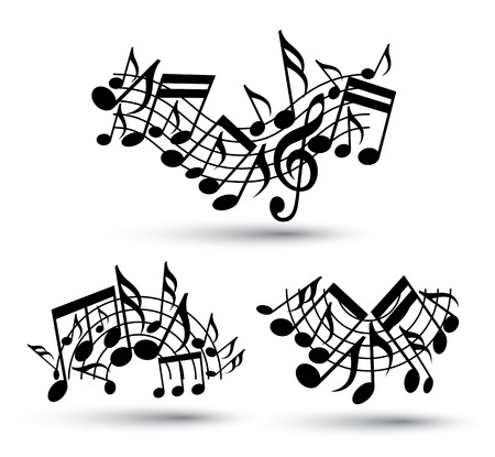 Vector black jolly wavy staves with musical notes on white background, decorative major arched set of musical notation symbols.