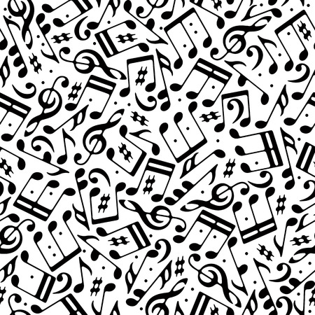 Vector black musical notes and treble clefs seamless pattern on white background. Ilustração