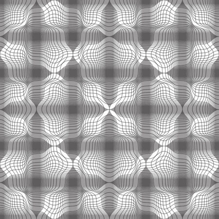 mirage: Seamless geometric vintage background, floral lined monochrome seamless pattern, vector illustration.