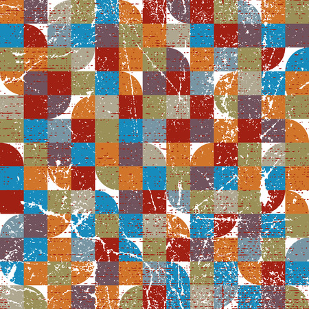 covering cells: Vector geometric colorful textile abstract seamless pattern, jolly carpet tiles.
