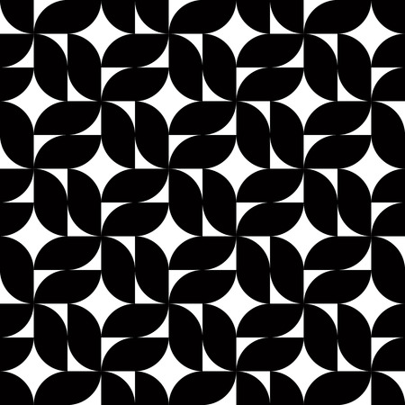 black and white flowers: Black and white abstract geometric seamless pattern, floral contrast mosaic background.