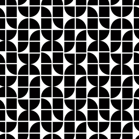 covering cells: Black and white abstract geometric seamless pattern, contrast regular shaped background.