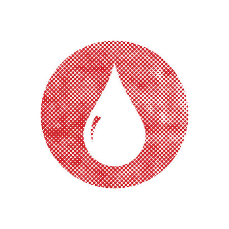 Blood drop vector icon with pixel print halftone dots texture. Vector