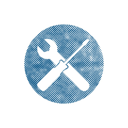 adjusting screw: Repair icon with wrench and screwdriver, vector symbol with pixel print halftone dots texture.