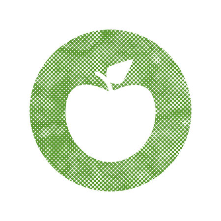 Green apple icon with pixel print halftone dots texture. Vector