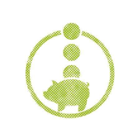 Piggy bank money, vector icon with pixel print halftone dots texture. Vector