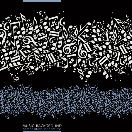 masterpiece: Colorful horizontal music canvas, vector seamless tape with striped musical notes on black background.