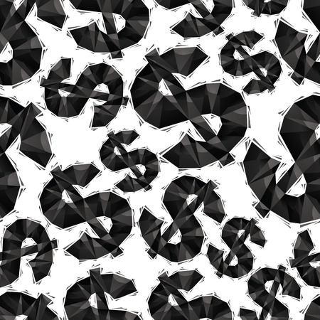 Black dollar signs seamless pattern, geometric contemporary style repeating vector background, best for use as web backgrounds and wallpapers. Vector