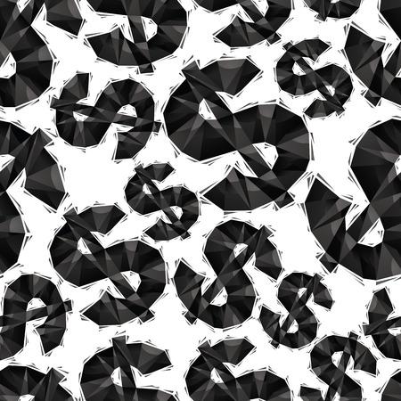 dollaro: Nero segno del dollaro modello senza soluzione di continuit�, geometrico stile contemporaneo ripetizione vettore di fondo, meglio da utilizzare come sfondi web e sfondi.