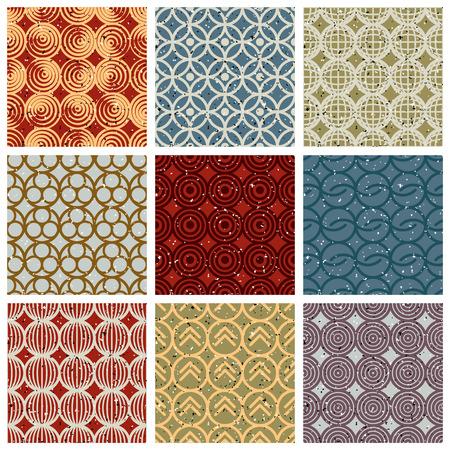 bg: Vintage tiles seamless patterns set, vector backgrounds collection.
