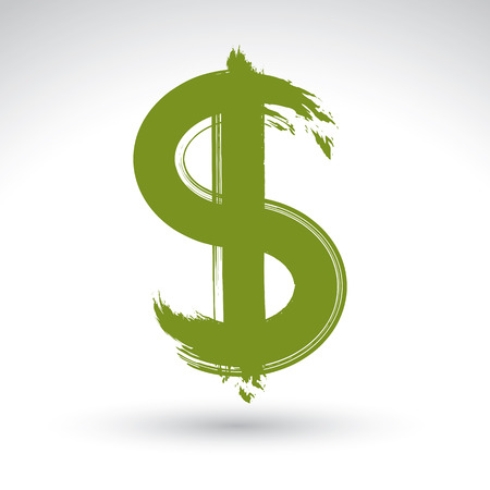 vectorized: Hand-painted yellow dollar icon isolated on white background, currency symbol created with real ink hand drawn brush scanned and vectorized, green buck sign. Illustration