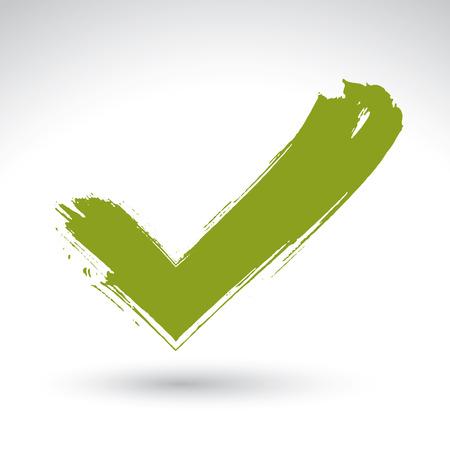 dessinée icône de validation de la main numérisée et vectorisée, brosse dessin coche verte, symbole de navigation peint à la main isolé sur fond blanc.