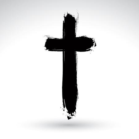손으로 그린 검은 grunge 크로스 아이콘, 간단한 기독교 십자가 기호, 흰색 배경에 고립 된 실제 잉크 브러시로 만든 손으로 그린 크로스 기호.