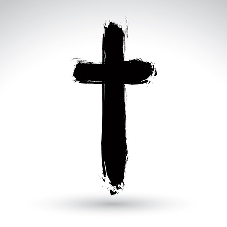 christian symbol: Hand drawn black grunge cross icon, simple Christian cross sign, hand-painted cross symbol created with real ink brush isolated on white background.