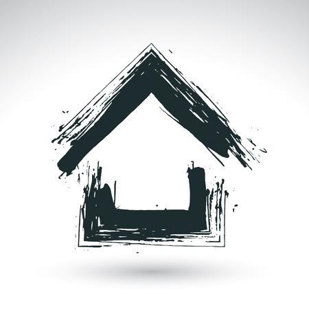 silhouette maison: Tiré par la main bleu maison de campagne icône, logo immobilier, signe de chalet simple, symbole peint à la main avec une brosse maison créée d'encre réelle isolé sur fond blanc.
