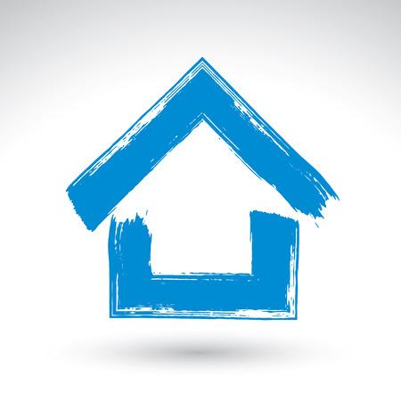 Dibujado a mano azul icono de casa de campo, logotipo raíces, cepillo dibujo signo casa simple, símbolo de la casa pintada a mano aisladas sobre fondo blanco.