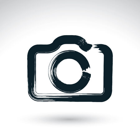 Realistic ink hand drawn vector digital camera icon, simple hand-painted camera symbol, isolated on white background. Illustration