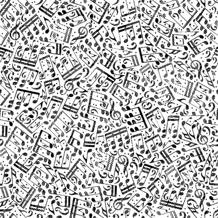 masterpiece: Vector contrast dotted seamless pattern, striped musical notes and treble clefs on white background.