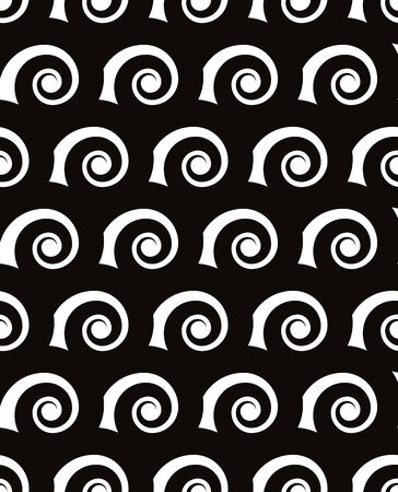 single coil: Regular curls seamless pattern, black and white vector background.