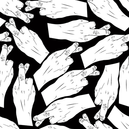 swear: Hands of cheaters with crossed fingers seamless patter, black and white vector background for wallpapers, textile or other designs. Illustration