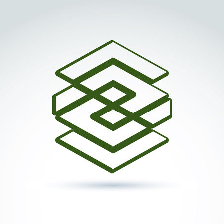 complex: Complex geometric corporate element. Vector abstract green figure isolated on white background, endless line. Illustration
