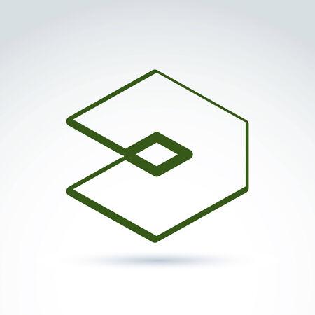 entwine: Complesso elemento aziendale geometrico. Vector insolita figura isolato su sfondo bianco. Vettoriali