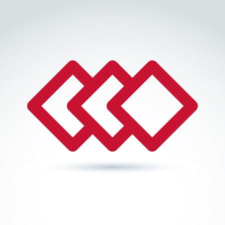 entwine: Complesso elemento aziendale geometrico. Tre vettore diamanti rossi astratti, imposte rombi.