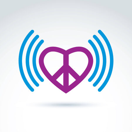 loving: Vector loving heart icon with peace symbol from 60th. Podcast sign on antiwar and love theme isolated on white background.