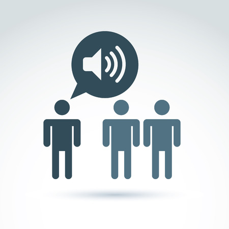 Company or social leader instructing people.  Speech bubble with loudspeaker symbol. Vector communication icon on management theme.