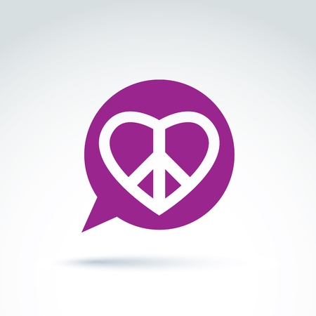 heart symbol: Chat on peace and love theme. Antiwar and love vector icons, loving heart sign with peace symbol from 60th. Harmony relationship illustration isolated on white background.