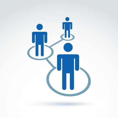business relationship: Social network vector illustration, people relationship icon, conceptual link sign. Structure symbol with silhouettes of people standing in circles.