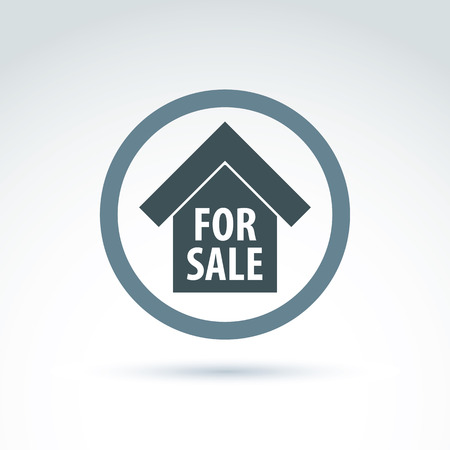 Vector building illustration placed in a circle, real estate agency theme. Depiction of a monochrome home for sale. Vector