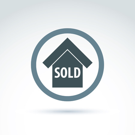 depiction: Vector building illustration placed in a circle, real estate agency theme. Monochrome depiction of a sold house. Illustration