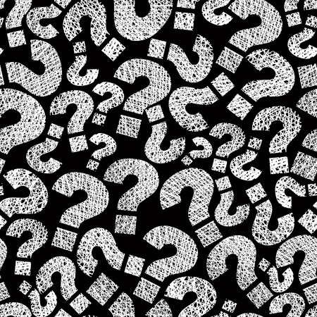 questions answers: Question marks seamless pattern, vector, hand drawn lines textures used.