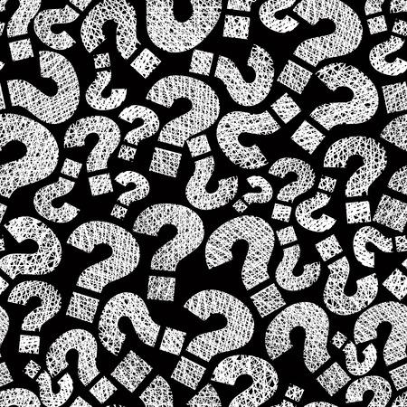 Signos de interrogación sin patrón, vector, dibujado a mano las líneas de texturas utilizados.