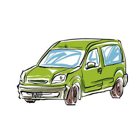 station wagon: Colored hand drawn car on white background, illustration of a station wagon.
