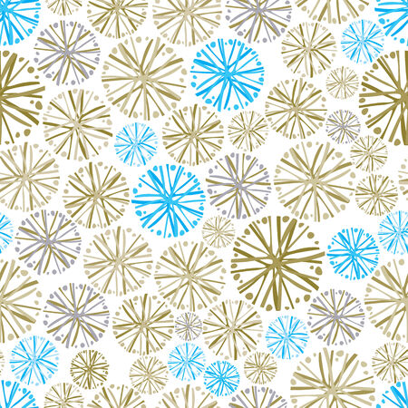 ephemeral: Light colorful floral background with dandelions, decorative snowflake seamless pattern. Illustration