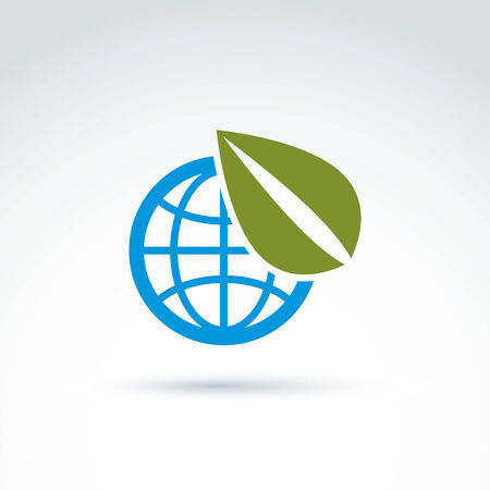 ecological environment: Globe with leaves growing icon, ecological environment theme concept, vector conceptual unusual symbol for your design.