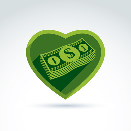love of money: Love money success, greed, crediting and depositing, wealth and money theme icon, vector conceptual special symbol for your design.