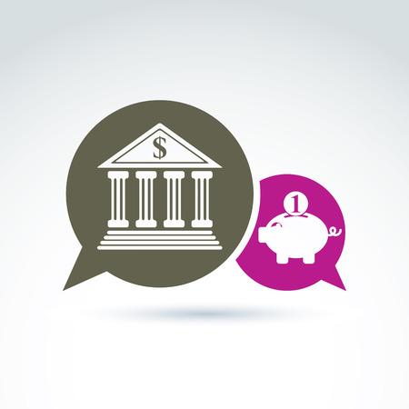 personal banking: Vector banking simbolo, icona istituto finanziario. Discorso bolle banca edificio rosa e illustrazioni salvadanaio. Chat su idea di risparmio personale.